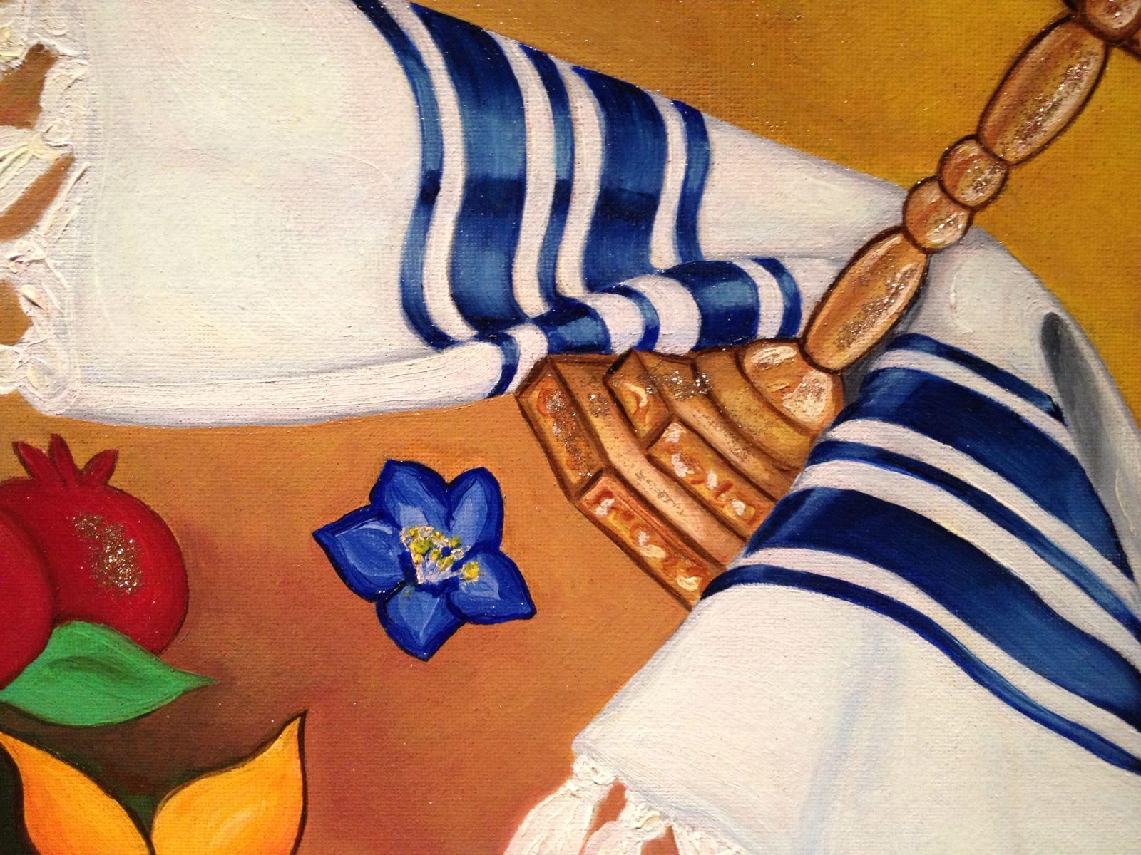 Menorah con Fiori e Melograni (dettaglio)